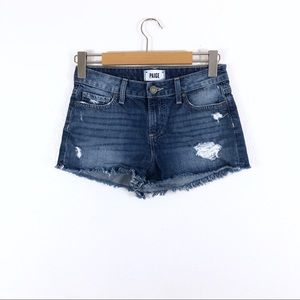 PAIGE Daryn Distressed Cutoff Denim Jean Shorts